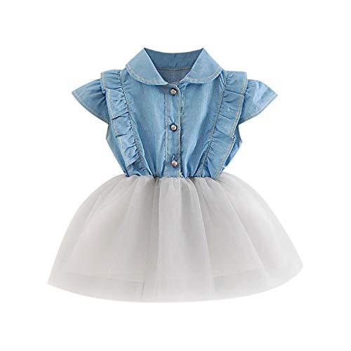 y Mädchen Kleid Denim Cowboy Kleider Tüll Tütü Urlaub Prinzessin Ärmellos Sommerkleid Outfit Kleidung ()