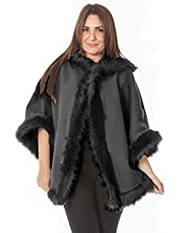 deb16e64dea Ladies Womens Warm Winter Hooded Cape Wrap Faux Fur Trim Batwing Poncho Coat