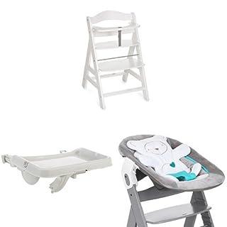Hauck Newborn Set (3 Teilig): Alpha Hochstuhl in weiß + Babywippe(Motiv (3 Teilig): Teddy) in grau + Essbrett (B077XXYTZS)   Amazon Products