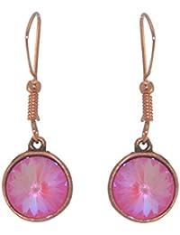 RIVOLI Antik Kupfer Ultra Rosa Swarovski Crystal Haken Ohrringe