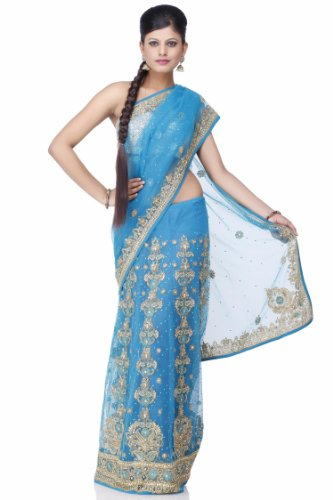 Chhabra555 Blue Net One Minute Saree
