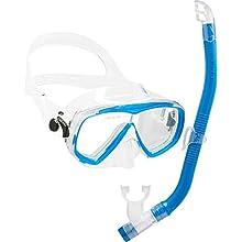 Cressi Kids' C Estrella VIP Jr Clear/Lime Junior Snorkeling/Diving Combo Set, Transparent/Aquamarine, Uni