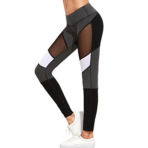 Damen Yoga Hose,Sonnena Frauen Yoga Running Sport Hosen High Waist Workout Leggings Fitness Hose Mit Polyester/Solide/Skinny/Gestreiften/Ankle-Länge/hohe Taille/Knöchel-Länge/Weiß/Casual Style (S, Grau) (Damen Weiche Trainingshose)