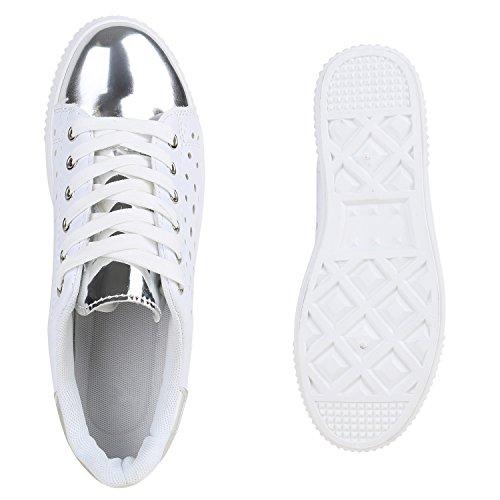 c13d293d4c4f13 ... Damen Sneakers Basic Sportschuhe Schnürer Lederoptik Schuhe Weiss Weiss  Metallic