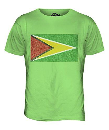 CandyMix Guyana Bandiera Scarabocchio T-Shirt da Uomo Maglietta Verde Lime