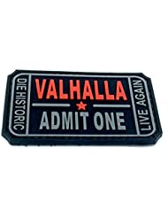 Valhalla PVC Airsoft Paintball moral parche, negro, 75mm x 40mm