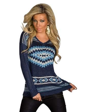 5352 Damen Langärmliger Pullover aus Strick Weit geschnitten Gr. 36 38 verfügbar in 5 Farben (Dunkelblau)