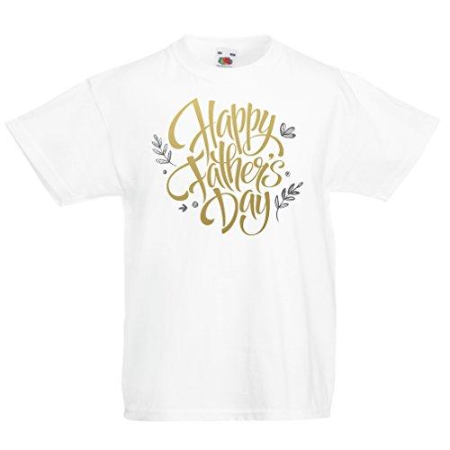 Kinder T-Shirt Glücklicher Vatertag Frau, Sohn oder Tochter (5-6 Years Weiß Mehrfarben)