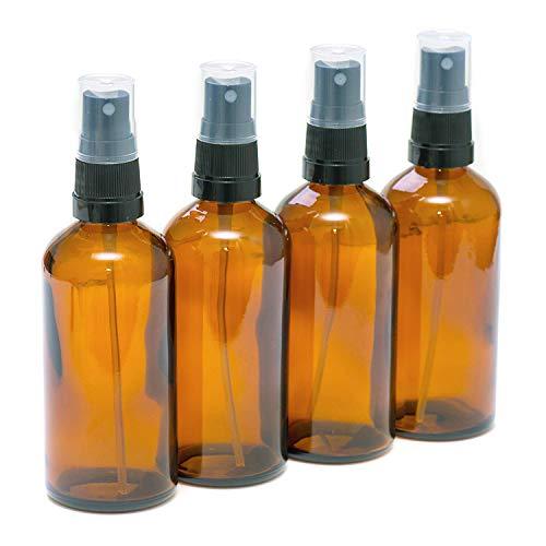 Glasflaschen mit schwarzem Zerstäuber, für ätherisches Öl, Aromatherapie, 100 ml, 4 Stück
