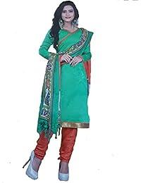 Balaji Women's Kora Silk Dress Material (GrOrKota023_Free Size_Green)