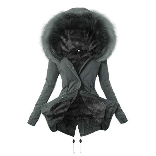 TEFIIR Damen-Steppjacke Three-Wear Windbreaker Furry Coat Mittellanger Baumwollmantel Winter Warmer Outwear Übergangsjacke mit Kapuze Slim Fit Trenchcoat
