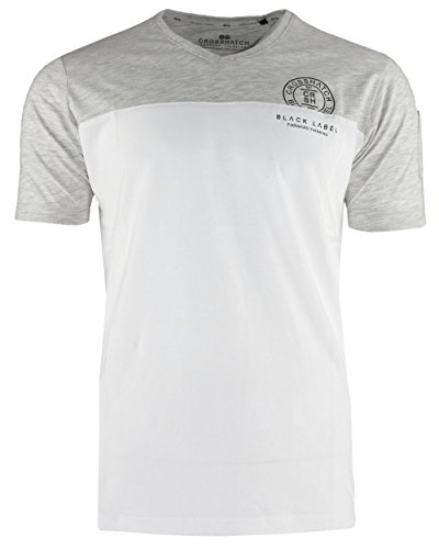 CROSSHATCH Herren T-Shirt KEEMAR CH PANELLED T TWO COLS kurzarm Lt Grey Marl