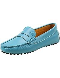 Shenduo Zapatos de cuero - Mocasines cómodos con cordones de moda para mujer D7052