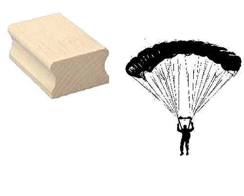 Stempel Holzstempel Motivstempel « FALLSCHIRMSPRINGER 02 » Scrapbooking - Embossing Sport Fallschirm Gleitschirm Fallschirmspringen