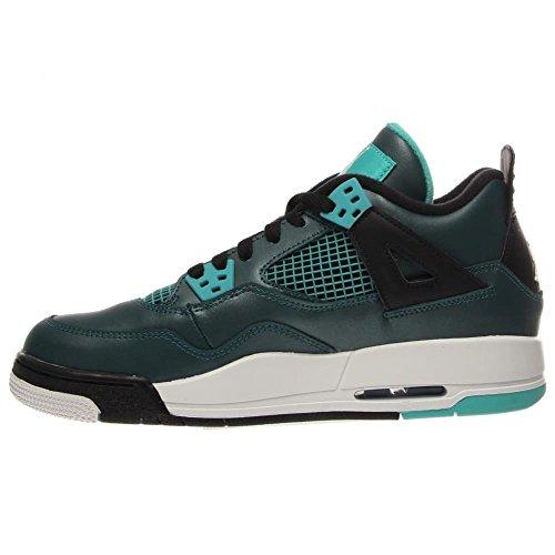 Nike Air Jordan 4 Retro 30th Bg, Chaussures de Sport Garçon Multicolore - Verde / Negro (Teal / White-Black-Retro)