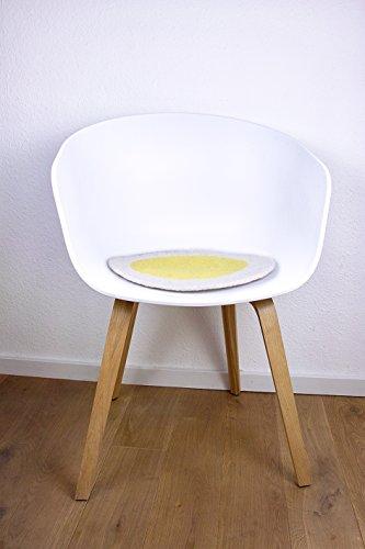 8-Natur Rundes Stuhlkissen aus 100% Reinem Merinofilz Weiß Gelb Bankkissen, Bodenkissen Oder...