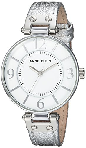 Anne Klein Women's 10/9169WTSI Silver-Tone Leather Strap Watch