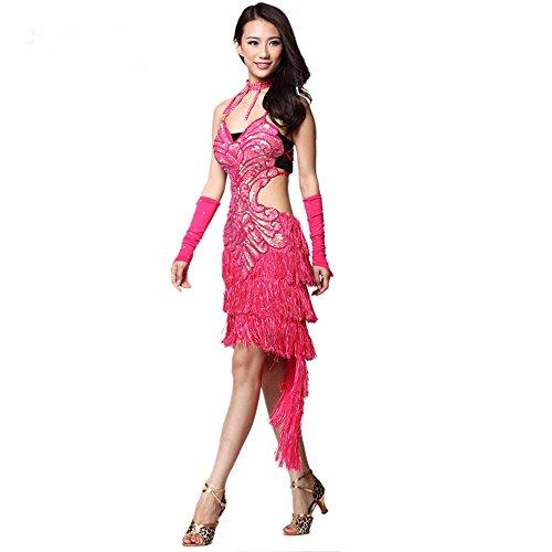 Tanzsport Latein Kostüme (Lateinamerikanischer Tanz der Frauen passt mein Latein Kostüm vier Stück Rock + Kette + Hand)