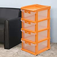 Nilkamal CHTR24 Four Layers Transparent Plastic Chest of Drawer (Orange)