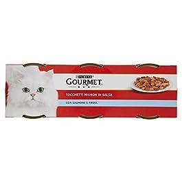 Purina Gourmet Rosso Umido Gatto Tocchetti Mignon con Salmone e Trota, 3 Lattine da 195 g Ciascuna, Confezione da 3 x 195 g