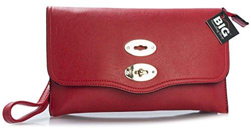 Big Handbag Shop - Borsetta senza manici donna (Red (LL467))