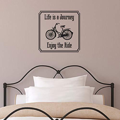 Dozili Wandtattoo Life is A Journey – Enjoy The Ride – Vintage Bike Zitat, 52 x 52 cm