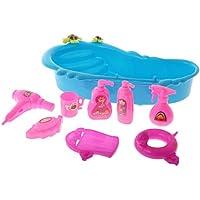 Fenteer 9pcs/Set Puppenhaus Puppenstube Badezimmer Badewanne Bad Set Für  Barbie Puppe