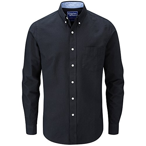 Charles Wilson Long Sleeve Oxford Casual Shirt (X-Large, Black)