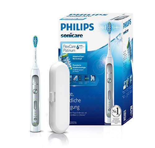 Philips Sonicare FlexCare Platinum Zahnbürste HX9111/20 - elektrische Schallzahnbürste mit Andruckkontrolle, 3 Putzprogrammen, 3 Intensitäten, Timer & Etui - schonend für Zähne & Zahnfleisch - Weiß - Elektronische Zahnbürste 1 Jahr