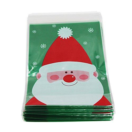 Leisialtm, busta per biscotti di natale e decorazioni di natale, imballaggio tascabile, motivo: babbo natale, 100 pezzi, plastica, stile 2, 14x20cm