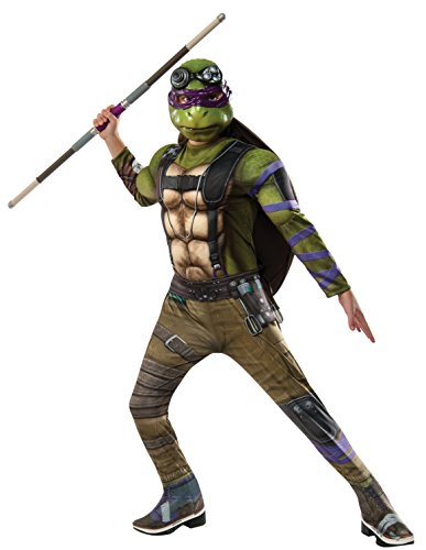 Original Turtle Ninja Kostüm - Teenage Mutant Ninja Turtles 2 Donatello Deluxe Kostüm für Kinder - Größe L 140-152cm
