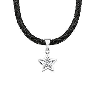 S.Oliver Kinder Collier Stern Edelstahl Leder schwarz Glas Kristalle 37+3 cm weiß