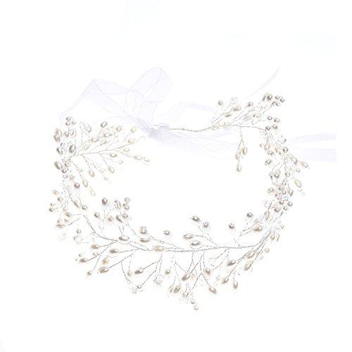 Oshide Brautschmuck Hübsche Weiß Perlengirlande Braut Haar Accessoires Strass Kopf Band