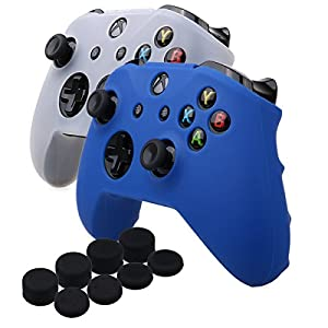 YoRHa Silikon Hülle Abdeckungs Haut Kasten für Microsoft Xbox One X & Xbox One S controller x 2 (Blau&Weiss) Mit PRO aufsätze thumb grips x 8