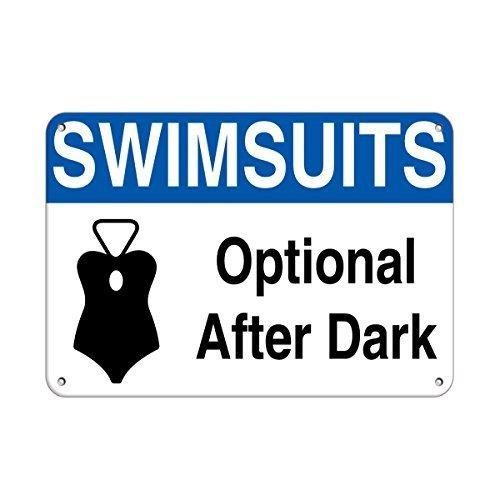 Badeanzüge optional After Dark Activity Pool Zitat Aluminium Metall Schild Geschenk für Herren Safety Sign Yard