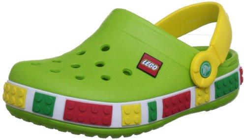 crocs Crocband Kids Lego 12080-37B-105, Unisex - Kinder Clogs & Pantoletten, grün (Volt Green/Yellow 37B), EU 19-21 (UKC4-5)