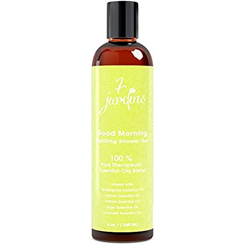 7 Jardins Good Morning Bath And Shower Gel - Uplifting, Mood Boosting, Natural Aromatherapy Enriched With Lemongrass, Jasmine, Vetiver, Sage And Lavendin Essential Oils. Safe And Sulfate Free