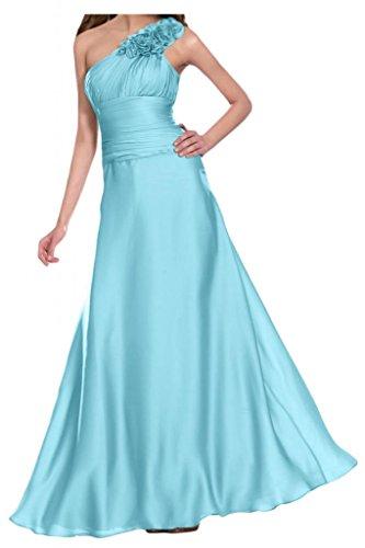 Gorgeous Bride Elegant Ein-Traeger Lang Empire Satin Blumen Abendkleid Festkleid Ballkleid Himmelblau