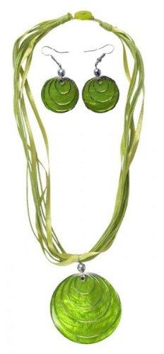 Set-aus-Hals-Kette-und-Ohrringen-mit-Muschel-Anhnger-in-vielen-verschiedenen-Farben