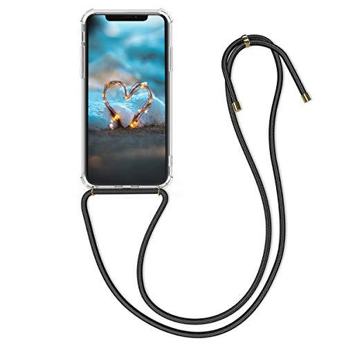 kwmobile Apple iPhone XS Cover a Tracolla - Back Case in Silicone con Laccio per Il Collo - Custodia con Cordino per Apple iPhone XS