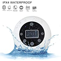 Victorstar Bluetooth Altavoz Impermeable Inalámbrica estéreo, Mini Altavoz S602 Con Ventosa, Radio FM, Despertador y Manos libres, Tarjeta TF Jugando para Ducha o Piscina (Blanco)