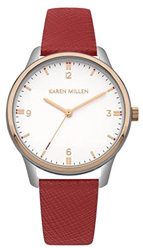 Karen Millen Damen Datum klassisch Quarz Uhr mit Leder Armband KM167R