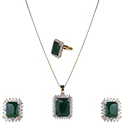 BeunewAmerican Diamond Combo of Pendant Set with Earrings and Ring for Girls and Women(Beunew 475)