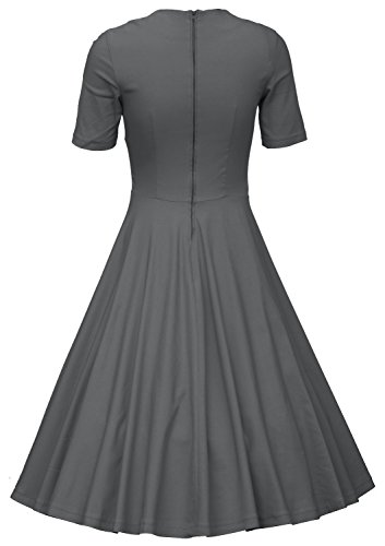 MUXXN Donna vintage anni'60 Scollo a V Cocktail Gonna da Sera a Manica Corta Grey