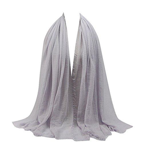 Styledresser-Sciarpe Scialli Donna Donne Premio Viscosa Maxi Incresparsi Nube Hijab Sciarpa Scialle Hijab Islam Musulmano (Viola Chiaro, Free)