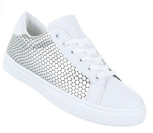 Damen Schuhe Freizeitschuhe Sneakers Turnschuhe Sportschuhe Schwarz Weiss Modell Nr.1 Silber