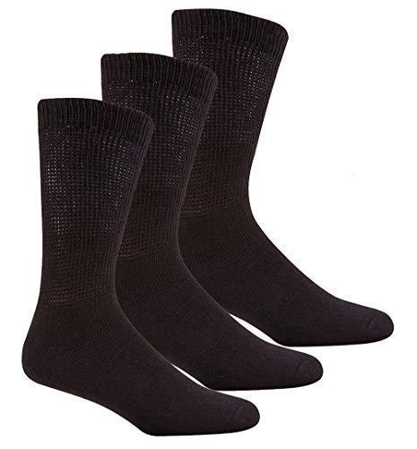 Insignia 3 o 12 Pares Hombre Muy Ancho Calcetines diabéticos más grueso Deporte Trabajo Sin Costura en los dedos de los pies - 12 Pares Negro, 6-11