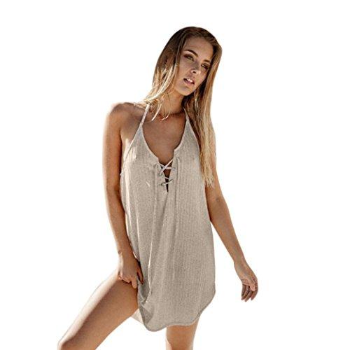 Oyedens gonna donna moda vestito solido senza maniche vestito scollato vestito casual (m, cachi)