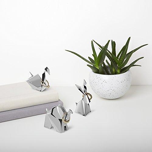 Umbra Origami Ringhalter - Modernes Ringablage Set Bestehend aus Schwan, Elefant und Hase, Ideales Gastgeschenk, Beschichtetes Metall / Chrom