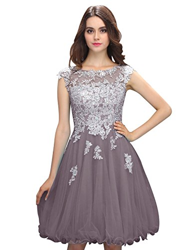 Dressystar Robe femme, Robe de bal/de princesse courte, aux appliques paillettes à fleur, en tulle Gris